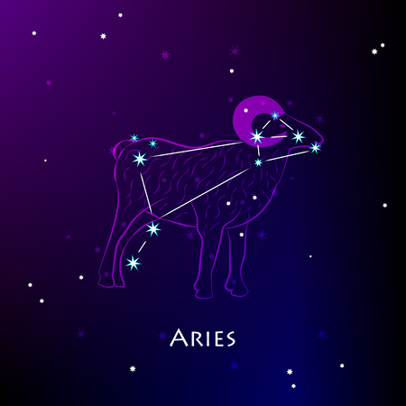 Aries Sign and the Constellation against a dark starry sky Illustration