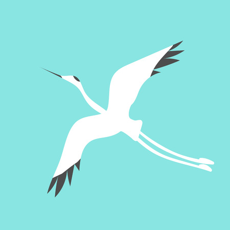 Flying crane bird stylized for icon