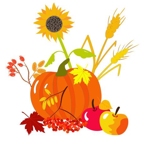 Autumnal still life with vegetables and fruits Ilustração