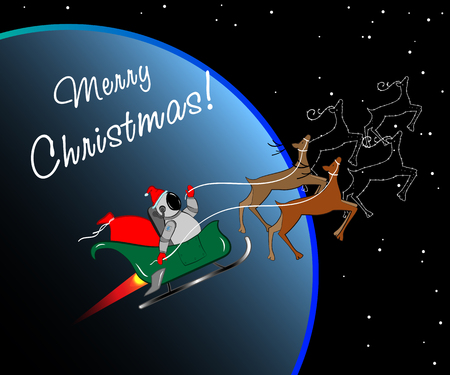 Santa Claus in a spacesuit with sleigh and deers in space Ilustração