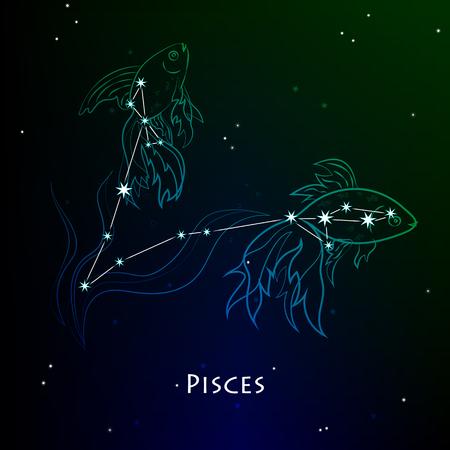 Pisces ( Fishes ) - constellation Vector illustration Ilustração