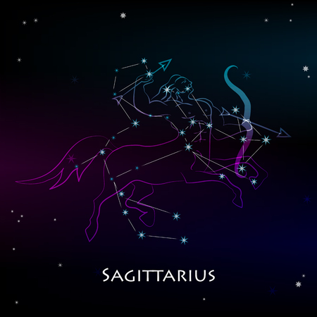 Sagittarius Sign and the Constellation against a dark starry sky