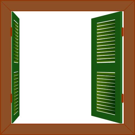 Open wooden window vector Ilustração