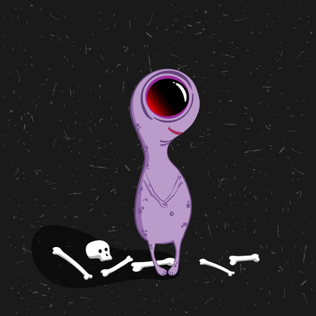 Cute cartoon character. Monster with big eye on the dark background. Halloween vector illustration