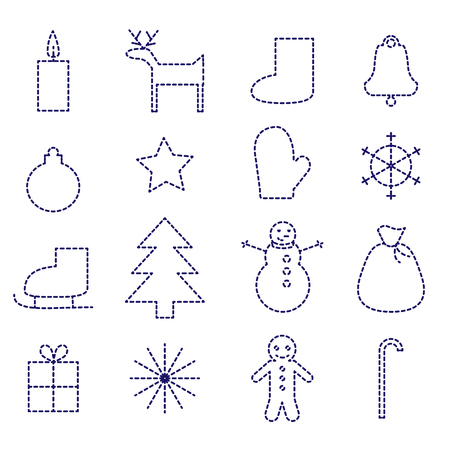 Set of Christmas icons in simple stitch style.