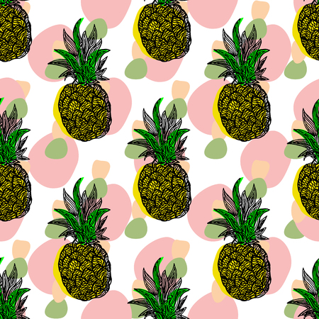 Seamless pattern with pineapples. Vector swatch, print for fabric or gift wrap.