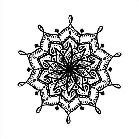 Mandala. Hand drawn ornament. Vector illustration. Ilustração