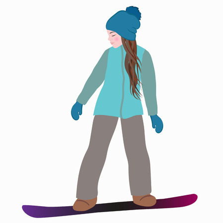 Young girl snowboarder on a snowboard. Winter sport, snowboarding - isolated vector illustration.