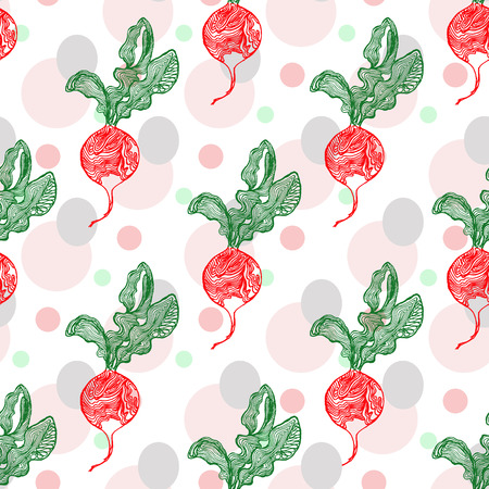 Seamless pattern with hand drawn radish. Vector illustration and swatch for fabric or wrapping. Kitchen theme