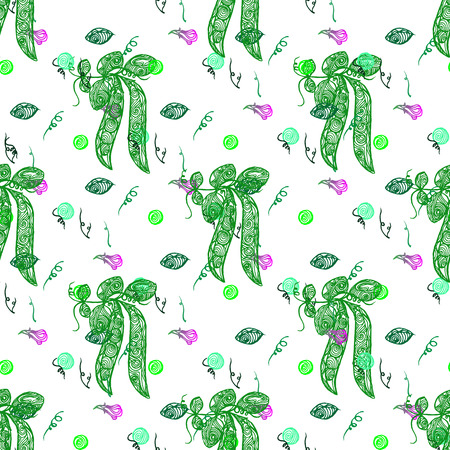 Seamless pattern with green peas on a white  background. Vectorillustration and swatch for fabric and wrapping