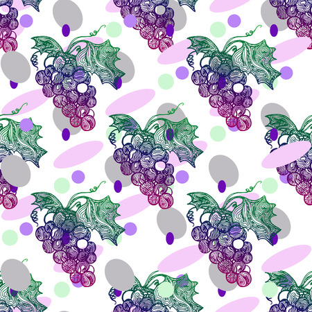 Seamless pattern with grape on a white background. Vector illustration and swatch for fabric or wrapping.