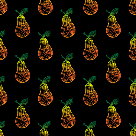 Seamless pattern with pears fruits on a black background. Vector illustration and swatch for wrapping or fabric