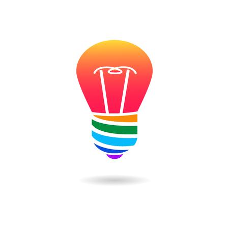 Multicolor light lamp icon. Lightbulb as creative idea concept