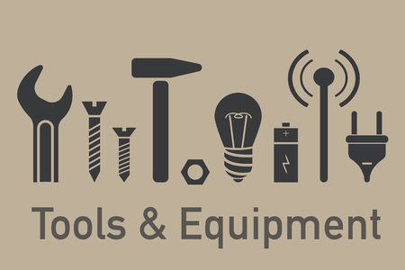 Set of simple gray icons. Tools and equipment elements in minimal style Vector illustration.