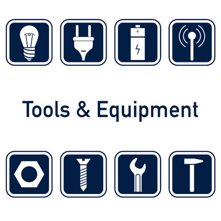 Collection of icons. Tools and equipment, metalware elements for web or logo Vector illustration. Ilustração