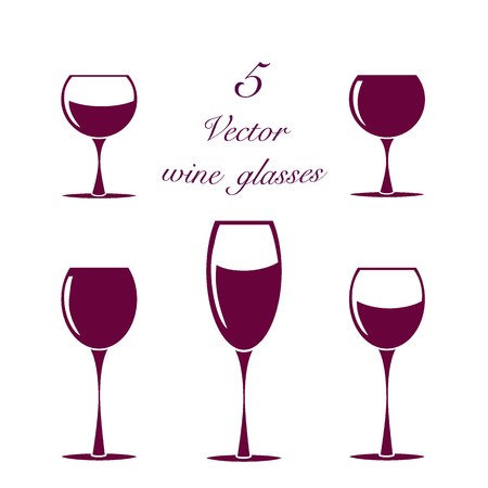 Set of wine glasses, collection of simple vector elements isolated.
