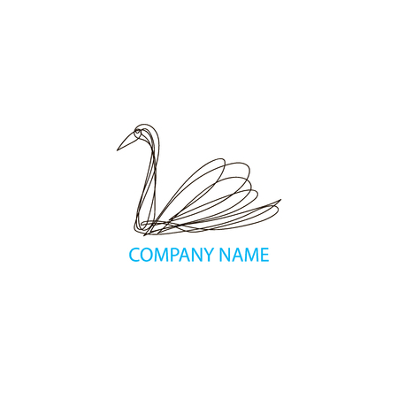 Continuous line swan logo design. Hand drawn vector emblem. Ilustração