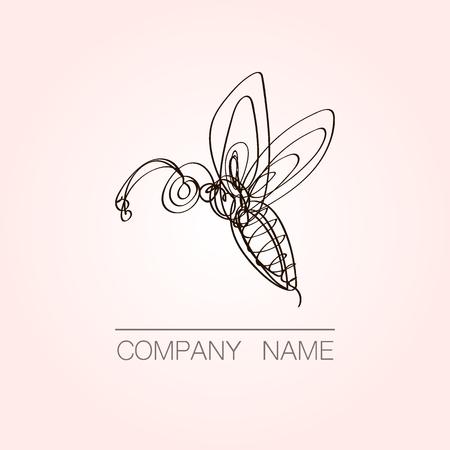 Continuous line bee logo design. Hand drawn vector emblem. Ilustração