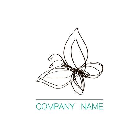 Continuous line butterfly logo design. Hand drawn vector emblem. Ilustração