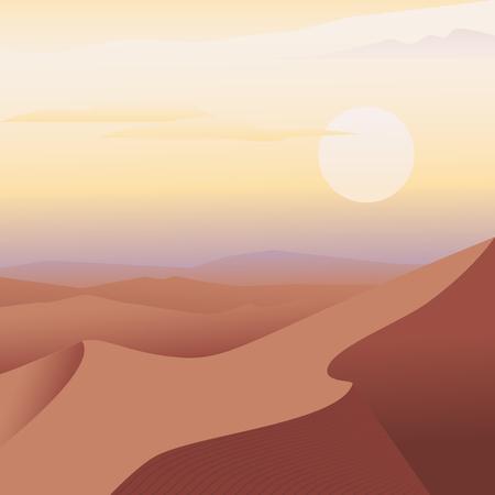 Arabian desert landscape. Sand dune and sun. Vector illustration