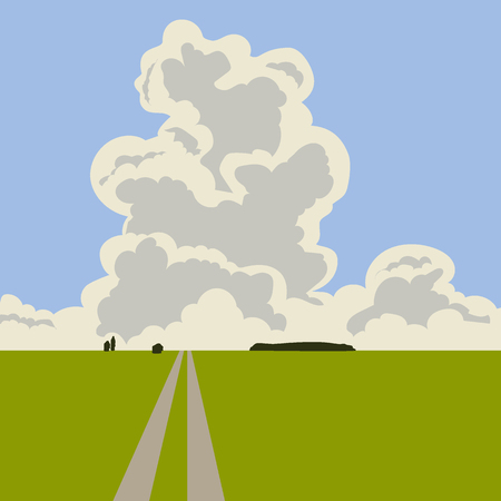 Big summer cumulus cloud in the blue sky and horizon. Vector illustration in cartoon style Çizim