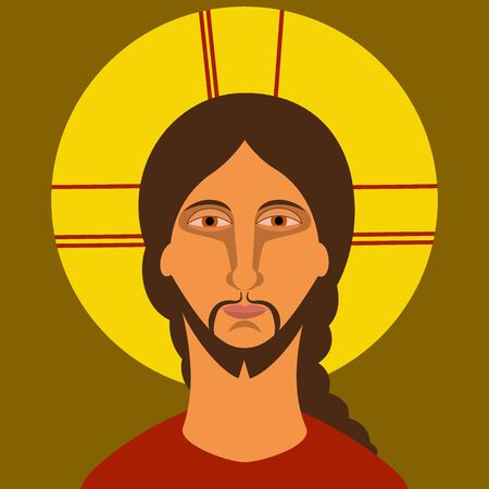 Christianity icon. Painting of Jesus Christ in flat style. Vector illustration