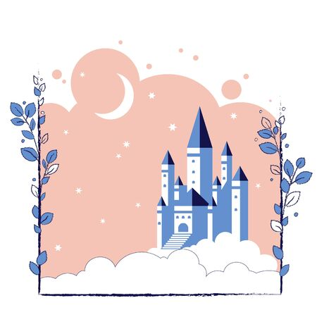 Castle in the moonlight in the clouds. Vector illustration for children fairy tales book.