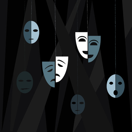 Theatre. Drama theater masks on the dark background. Vector illustration in flat style.
