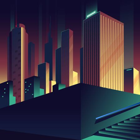 Big city. Urban evening landscape with buildings, skyscrapers and stairs.  Vector illustration.