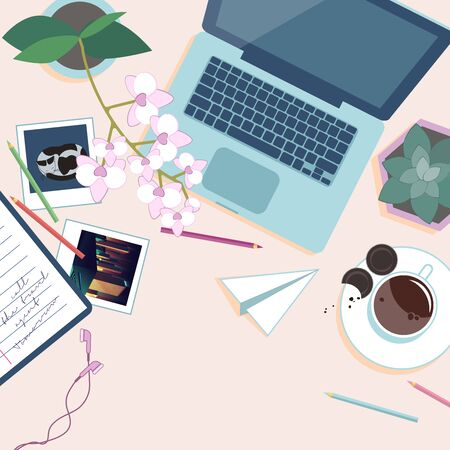 Work place top view. Desk with laptop, pot flowers,  cup of coffee, pencils and photos. Vector illustration