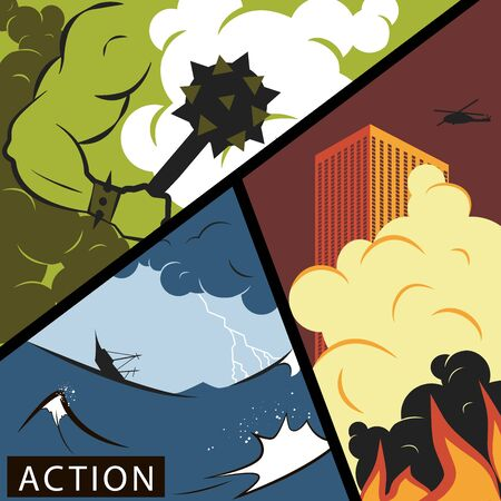 Comic wars. Action movie poster concept. Vector illustration in flat style.