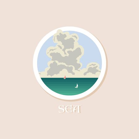 Big cloud over the sea and boats. Round icon. Vector illustration
