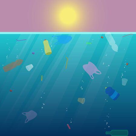 Plastic garbage in the ocean.  Environmental pollution. Global ecological problem. Vector illustration. Ilustração