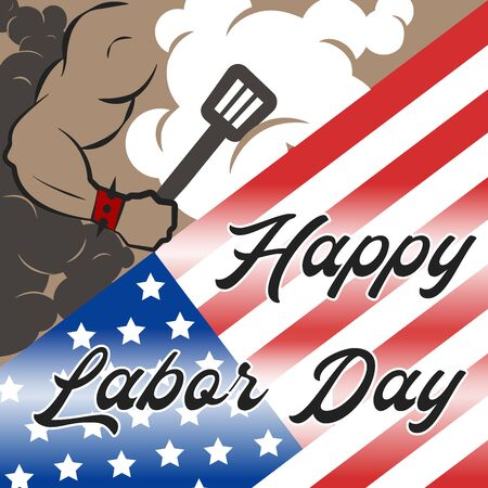 Labor day Grill barbecue. BBQ  Vector illustration Ilustração