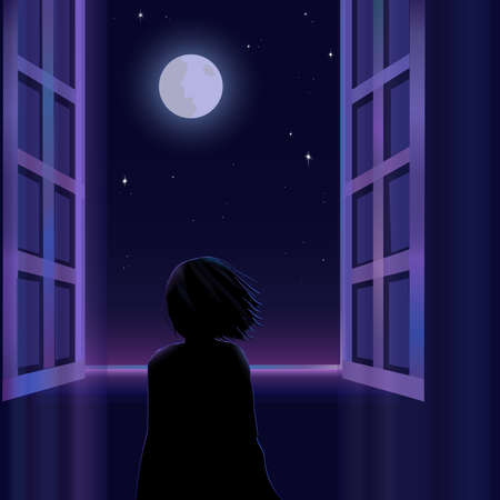 Silhouette of a little child is standing near the window and looking at the moon and starry sky. Vector illustration. 矢量图像