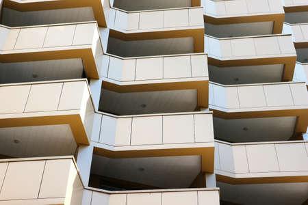 Facade of contemporary building, balconies pattern 免版税图像