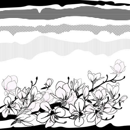 Sketch of magnolia blossom branch with graphic hatching. Digital hand drawn illustration