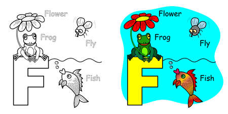 English alphabet coloring book for children. Letter F