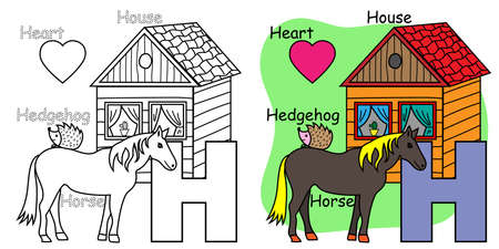 English alphabet coloring book for children. Letter H for Horse, House, Hedgehog. Vector illustration.