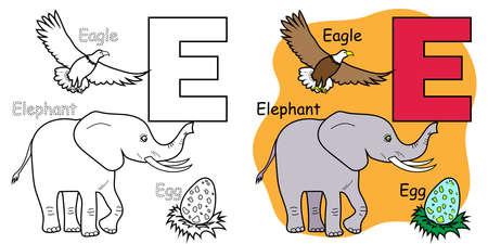 English alphabet coloring book for children. Letter E