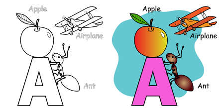 English alphabet coloring book for children. Letter A.