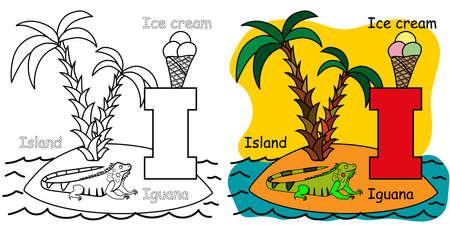 English alphabet coloring book for children. Letter I for Island, Iguana, Ice cream. Vector illustration. 矢量图像