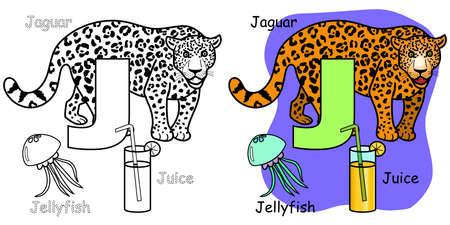 English alphabet coloring book for children. Letter J is for Jaguar, Jellyfish, Juice. Vector illustration. 矢量图像