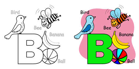English alphabet coloring book for children. Letter B.