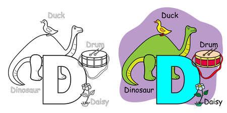 English alphabet coloring book for children. Letter D