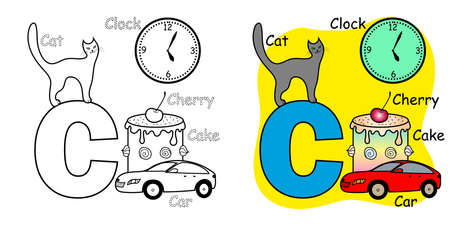 English alphabet coloring book for children. Letter C.