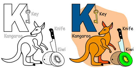 English alphabet coloring book page for children. Letter K is for Kangaroo, Kiwi, Knife, Key. Vector illustration.