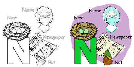 English alphabet coloring book page for children. Letter N is for Nurse, Nut, Nest, Newspaper. Vector illustration. 矢量图像
