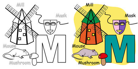 English alphabet coloring book page for children. Letter M is for Mouse, Mill, Mask, Mushroom. Vector illustration. 矢量图像
