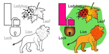 English alphabet coloring book page for children. Letter L is for Lion, Leaf, Ladybug, Lock. Vector illustration. 矢量图像